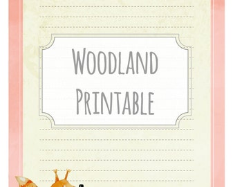 Woodland squirrel - printable writing paper