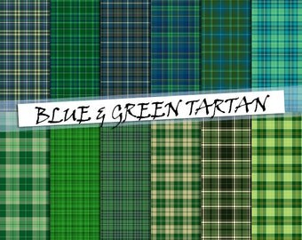 Tartan digital paper in blue and green: scottish plaid patterns in blue and green color; tartan background for commercial use