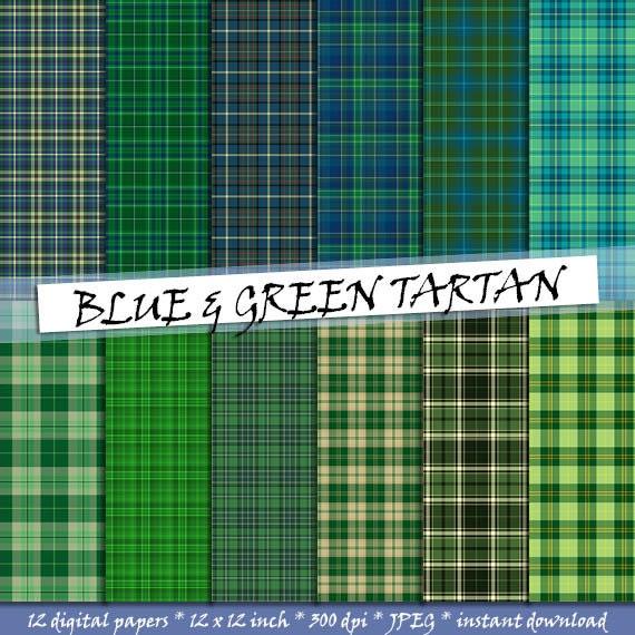 Tartan digital paper in blue and green: scottish plaid ...