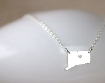 Connecticut Necklace, I heart Connecticut, State of Connecticut, I love Connecticut, Sterling silver state jewelry, hometown jewelry