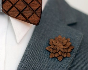 Walnut Lapel Pin - Wood Lapel Pin - Mens lapel flower