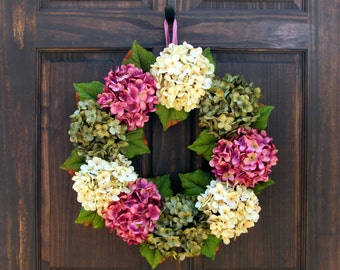 Spring Wreath for Front Door, Wreath for Spring, Hydrangea Wreath, Spring Summer Wreath, Summer Hydrangea Wreath, Spring Front Door Decor