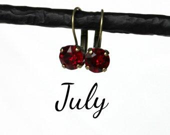 July Birthstone Drop Earrings - 8mm Ruby Red Swarovski Crystal Earrings