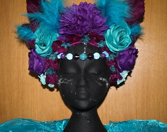 Purple, turquise floral headdress, headpiece with beads and feathers, artificial flowers