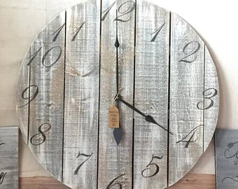 """32"""" Reclaimed Wood Clock - FREE SHIPPING"""