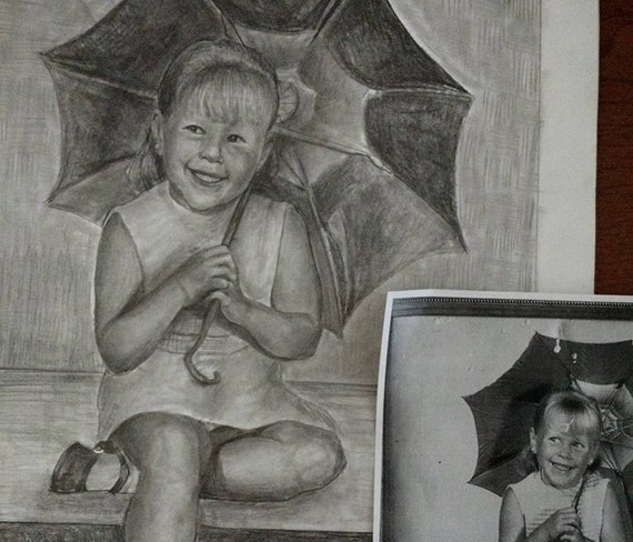 Custom graphite drawing from your photo. Drawn by an Award-Winning Artist! Free shipping.