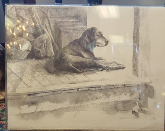 Framed Hubert Shuptrine 1972 Christmas Card b&W print of dog