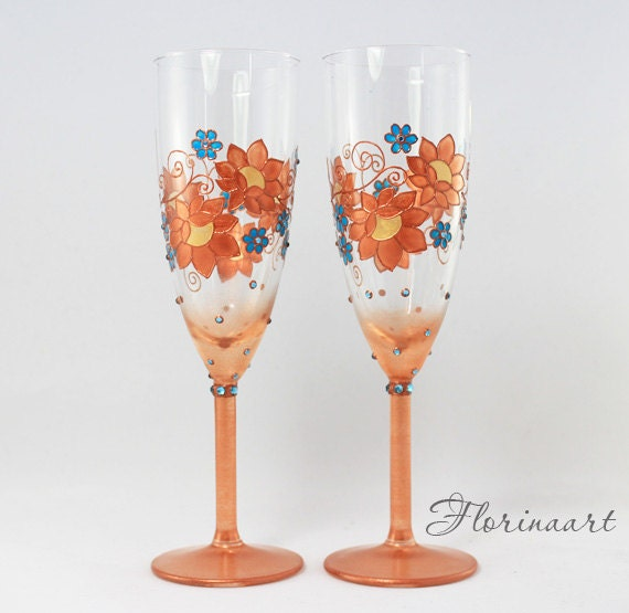 Copper Wedding Gifts: Copper Аnniversary Glasses Copper Anniversary Gift Wedding