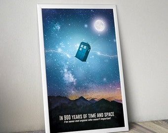Doctor Who poster Tardis poster Doctor Who alternative poster Dr Who Space poster Science Fiction poster Quote poster