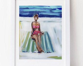 Small PRINT figurative woman swimming pool canvas, girl, swimmer, impressionist, figure