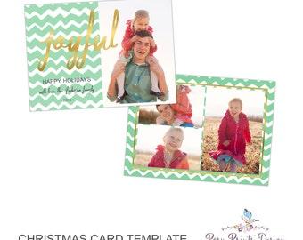Christmas Card Photoshop Template - Joyful - 5x7 Photo Card - INSTANT DOWNLOAD or Printable - CC35
