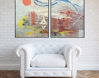 Large Colorful Abstract Painting - Abstract Acrylic Painting - Colorful Abstract Paper Art - Abstract Red and Yellow Painting - Original Art