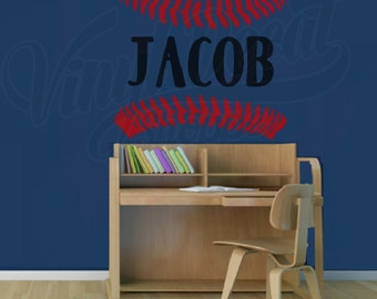 Custom Baseball Decal, Baseball Name Wall Decal, Custom Baseball Wall Decal, Baseball Monogram, Baseball Room Decor, Baseball Theme Decor
