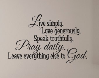 Bible Wall Decal, Bible Verse, Religious Wall Decal, Vinyl Wall Decal, Prayer Wall Decal, Pray Daily, Leave everything else to God