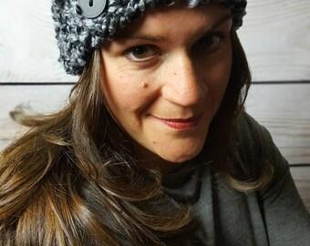 Crochet Headband Ear Warmer, Crochet Headwrap, Knitted Headband, Crochet Hairband - Black and Gray with Button Closure  Fast Shipping!
