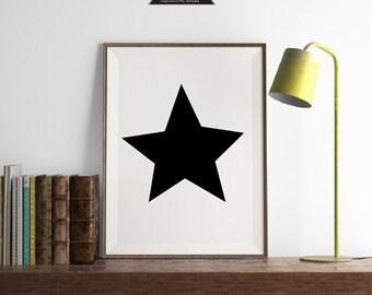 Scandinavian Star Print, Black and White, Modern Printable, Scandinavian Poster, Kids Wall Art, Black Star Print, Boys Printable, Star Wall