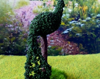 Miniature green plant Topiary Peacock Dollhouse scale 1:12