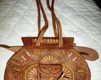 90's Moroccan Camel Tooled Leather Handbag