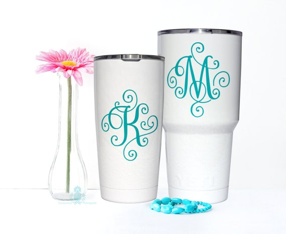 Yeti decal yeti decal for women monogram decal yeti for Monogram letters for cups