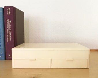 Vintage Acrylic Jewelry Box / Men's Dresser Organizer / Large Desk Organizer / Craft Storage / Mid Century Modern Table Organizer w Drawers