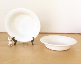 Vintage Milk Glass Bowl / Military Mess Ware WWII Era / Corning Glass Blower Trademark / Early Corning Ware Vegetable Bowl / Serving Bowl