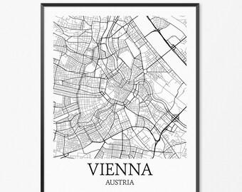 Vienna Map Art Print, Vienna Poster Map of Vienna Decor, Vienna City Map Art, Vienna Gift, Vienna Austria Art Poster