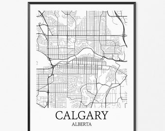 Calgary Map Art Print, Calgary Poster Map of Calgary Decor, Calgary City Map Art, Calgary Gift, Calgary Alberta Art Poster