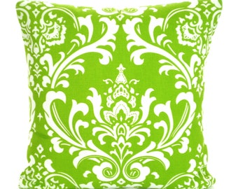 Decorative Throw Pillow Covers, Green Pillows, Cushions, Throw Pillow, Couch Pillows, Decorative Pillow, Green Damask, One or More All Sizes