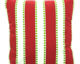 Red Green White Stripe Christmas Pillow Cover Decorative Throw Pillow Cushion Covers Holiday Pillows, Red Green White Stripe All Sizes