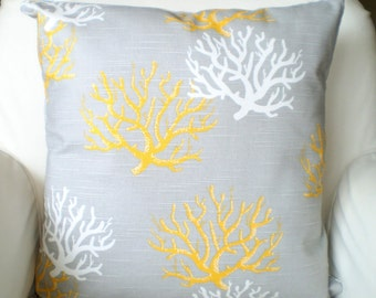Gray Yellow Nautical Pillow Covers, Throw Pillow, Cushions, Grey Yellow White Coral Isadella, Beach Cottage Sun Room Couch  All Sizes