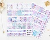 Mermaid Stickers, Watercolor Sea Planner, Seashells, Seahorse, Coral Reef, Sea Elements, DIY Pack, Digital, Instant Download, Print Cut