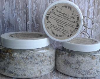 Soothing Bath Salts (Vegan) Epsom Salt, Baking Soda, Dried Organic Chamomile and Dried Organic Lavender Flowers.
