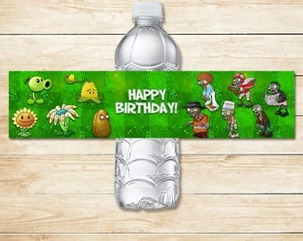Printable Plants vs Zombies Drink Label Original // Plants vs Zombies Stickers // Plants vs Zombies Party // Plants vs Zombies Favors PVZ