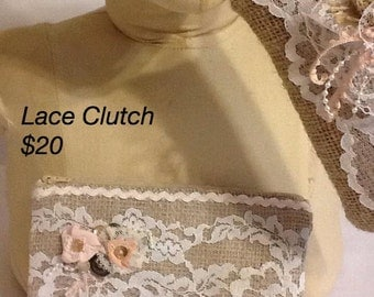 Recycled Burlap and Vintage Lace Bridal Clutch Handbag