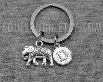 Elephant Key chain -Goodluck Keychain -Initial Keychain -Your Choice of A to Z