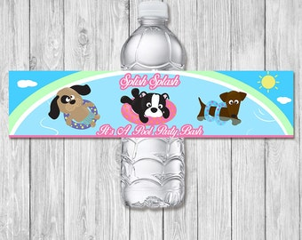 Pool Party Drink Label Dogs in Pool - Pool Party Printable - Pool Party Water Bottle Label - Pool Party Birthday Party - Summer Party