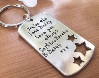 Gift for Dad, Daddy keyring, personalised Pa keychain, grandad keyring, grampa keychain, porte clé Papa