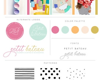 Branding Package Clothing Boutique Logo Branding Package Watercolor - Custom Branding - Graphic Design - Watermark  Blog Logo Brand Identity