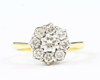 Diamond daisy floral engagement ring in 18 carat gold antique vintage for her