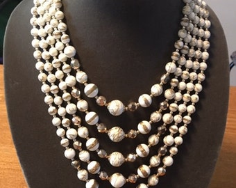 Vintage multi-strand bead necklace