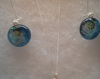 Sterling Silver matching Dichroic Glass necklace and earrings