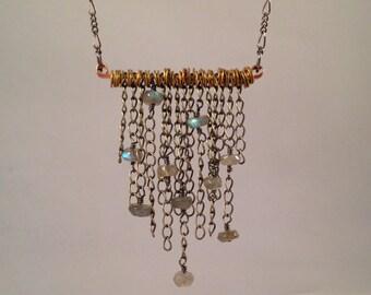Labradorite chain necklace, mixed metal, bib necklace, fringe, chain pendant, washers, copper bar, boho, industrial, modern, blue, flashy