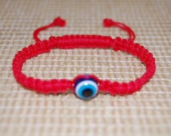 Evil Eye Bracelet,Good Luck Red String Bracelet,Hemp,Adjustable Drawstring fit all,Man,Woman,Yoga,Pray,Protection,Meditation ,Wish Bracelet