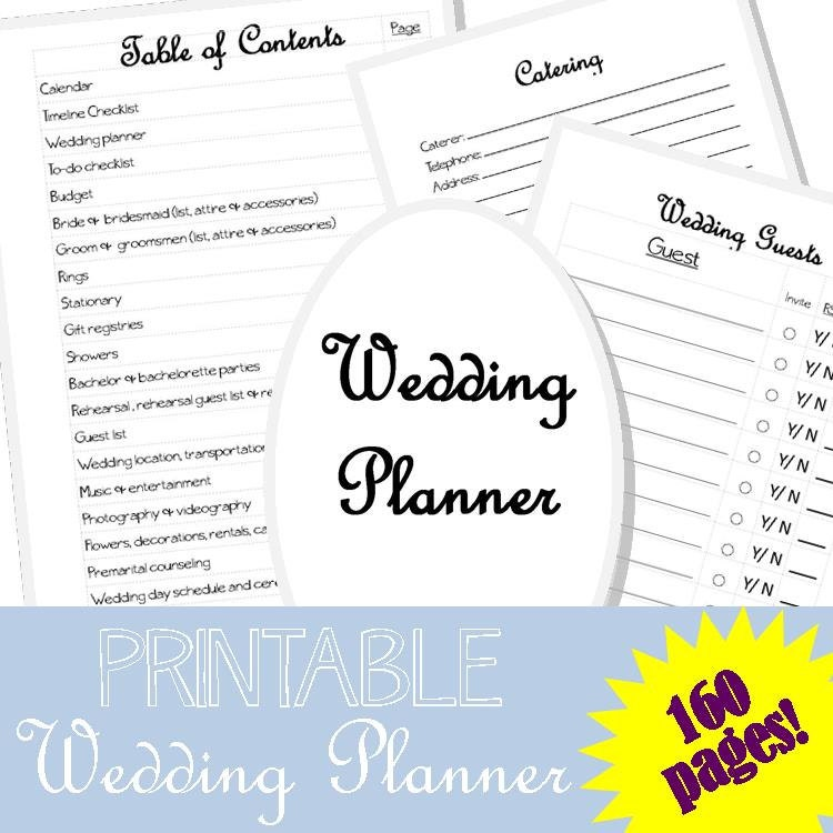 PRINTABLE wedding planner 160 pages Wedding checklist