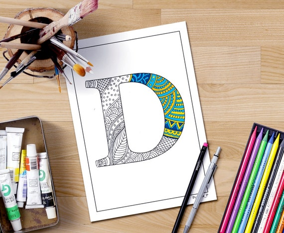 Zentangle Alphabet Coloring Page Letter D To Color For