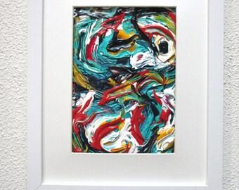 Colorful Framed Art, 5 x 7 Artwork, 5 x 7 Painting, Framed Modern Art, Framed Abstract Art, 5 x 7 Wall Art, Colorful Decor, Bedroom Wall Art