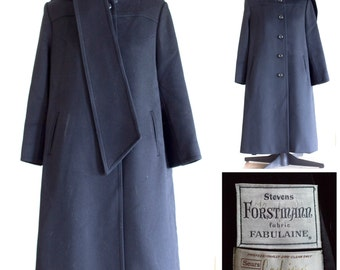 Black wool a-line coat with built in scarf
