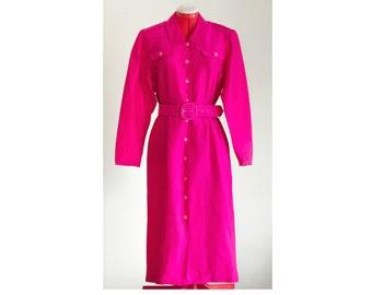 1980s hot pink silk belted shirt dress