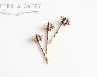 Choose silver or golden bronze bee hair pins. Bee bobby pins. Elegant Bee hair clip. Dainty bee hair clip.