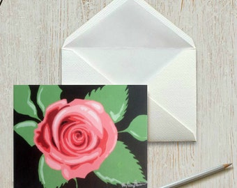 """Pink Rose Greeting Card, 4"""" x 6"""" Fine Art Note Card, Rose Notecard, Flower Greeting Card, Rose Gift for her, Gift for Him, Mother's Day Gift"""